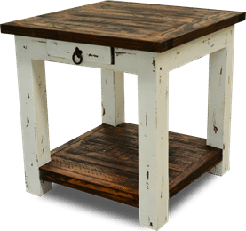 Cottage Rustic Square End Table Distressed White