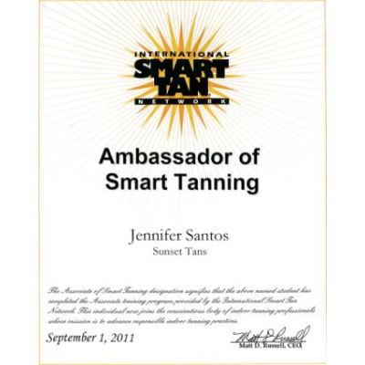 Jennifer Santos - Smart Tan Network Certification