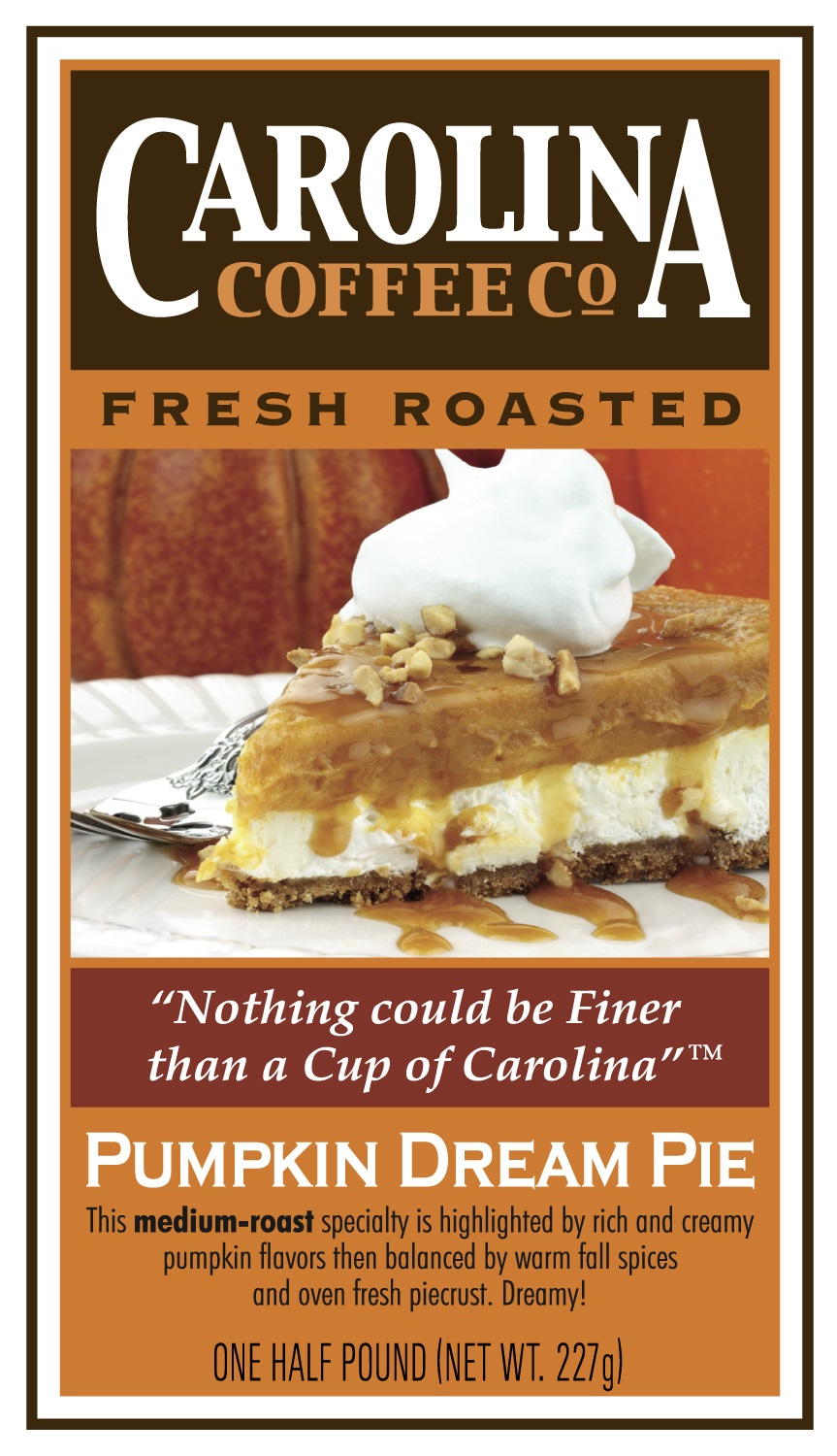Carolina Coffee Pumpkin Dream Pie Swiss Water Decaf