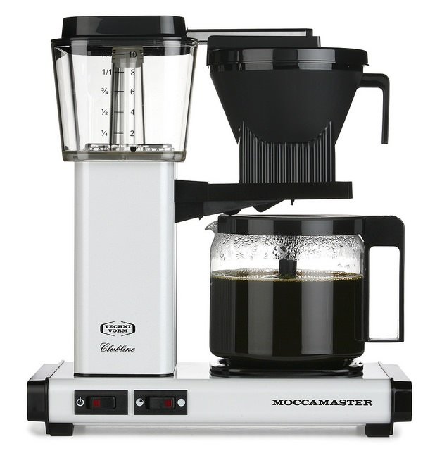 Carolina Coffee A Technivorm Moccamaster KBG Automatic Drip Stop Coffee Maker with Glass Carafe - White
